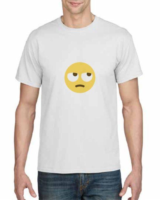 rolling eyes emoji face printed t-shirt