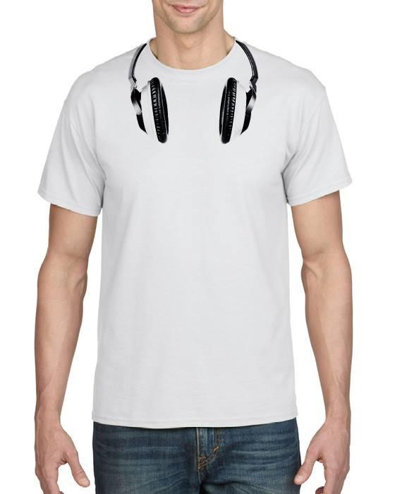 Mens headphones printed t-shirt