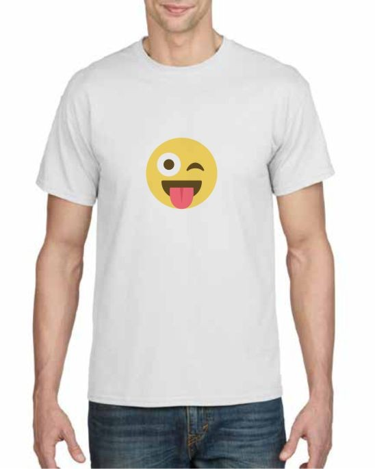 winking face tongue out emoji printed t-shirt
