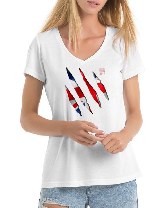 Womens British Lions Themed V Neck T-shirt