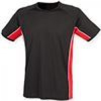 Performance contrast panel sports t-shirt in Black Red White