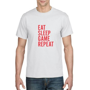 EAT SLEEP GAME REPEAT printed t-shirt