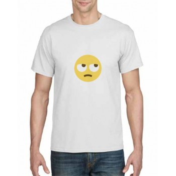 rolling eyes emoji face printed t-shirt