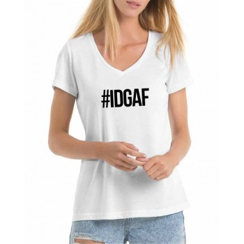 Ladies #IDGAF print t-shirt