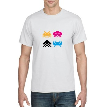 Space invaders multi colour print t-shirt