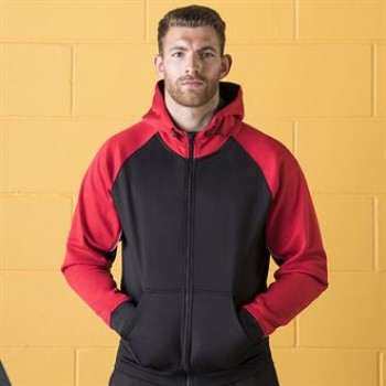 Black red white panelled hoodie front
