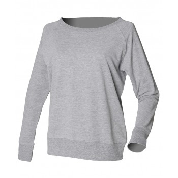 skinifit off the shoulder slounge sweatshirt heather grey