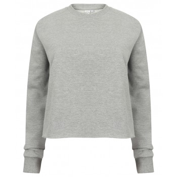 Women's skinifit cropped slounge sweat in Heather Grey