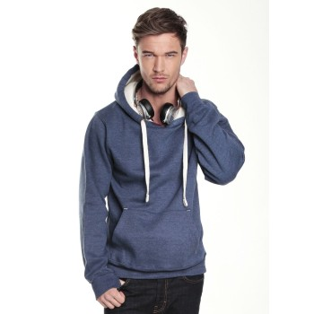 Peach Finish Hoodie with Concealed iPod & Phone Pocket & Thumb Holes in Navy Melange