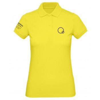 Ladies Yellow Happitots Polo Black Logo